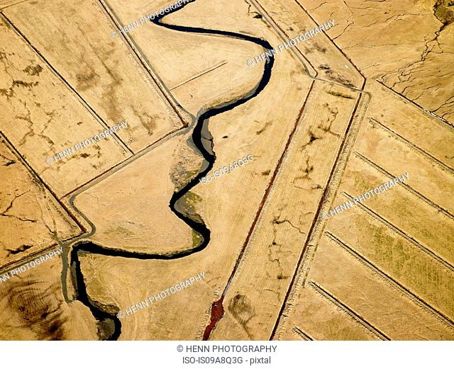 Aerial view of fields and river, South Iceland