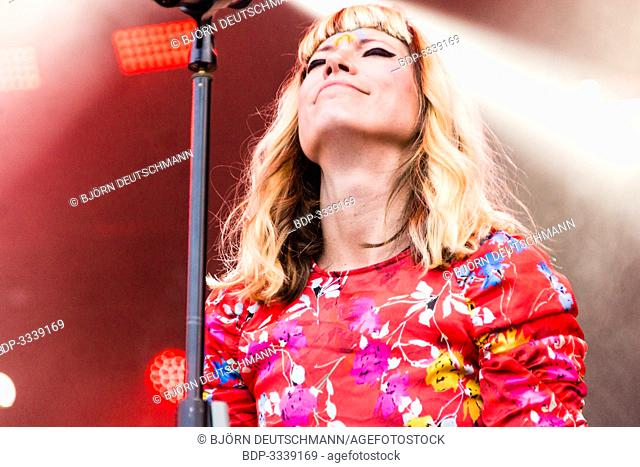 """Kiel, Germany - June 25th 2019: Electropop music group """"""""MIA"""""""" from Berlin is performing on the Rathaus Stage during the 125th Kiel Week"""