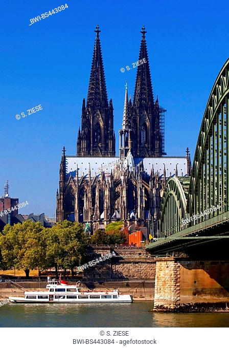 Cologne Cathedral with Hohenzollern Bridge and Rhine, Germany, North Rhine-Westphalia, Cologne