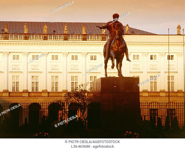 Monument of Count Poniatowski by danish sculptor Thorvaldsen from the XIX century. Its in front of the Presidential Palace. Warsaw. Poland
