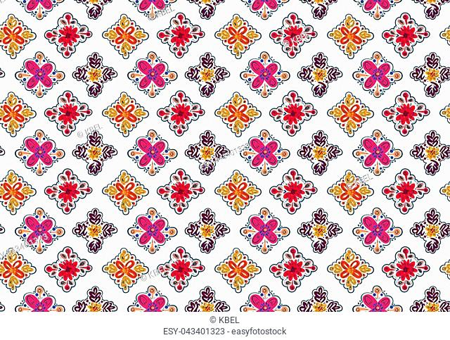 Decorative seamless folk pattern with square elements isolated on white. Eastern european print