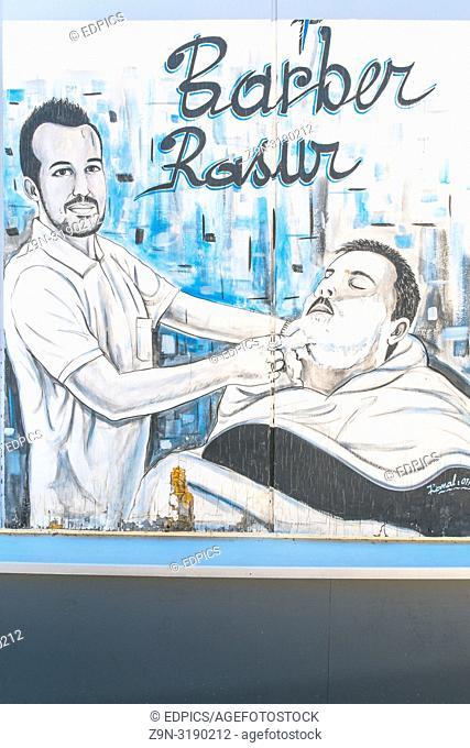advertisement poster for a turkish barber shop, goeppingen, baden-wuerttemberg, germany