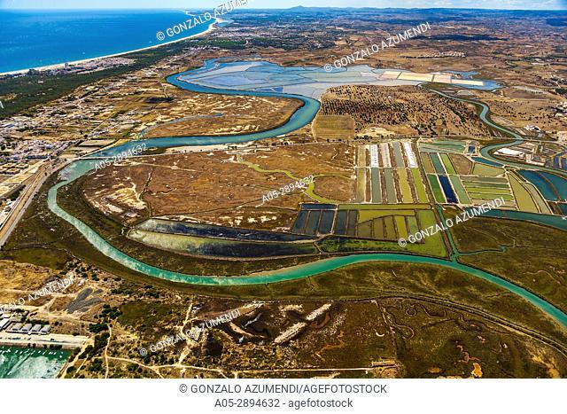 Sapal de Castro Marim and Vila Real de Santo Antonio Natural Reserve. On the left Vila Real de Santo Antonio. Faro district. Algarve. Portugal