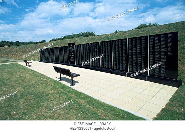 Memorial wall, Battle of Britain Memorial, Capel le Ferne, Kent, 1993. Memorial commemorating the Battle of Britain (1940)