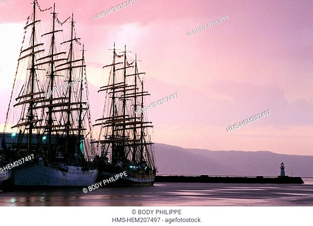 Norway, Sor-Trondelag County, Trondheim, sailboats putting into port during the Cutty Sark Tall Ship Race