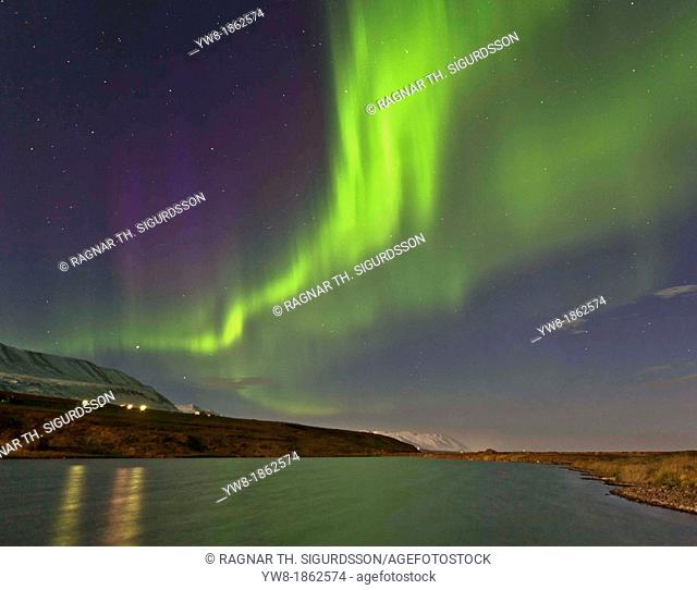 Aurora Borealis over Eyjafjordur, Northern Iceland