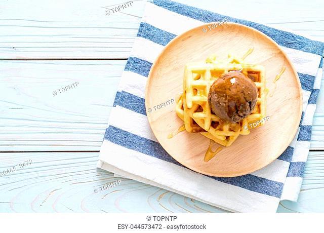 chocolate ice-cream with waffle and honey