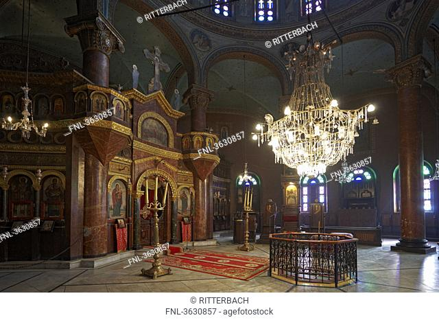 Interior shot of the Saint George Church, Cairo, Egypt
