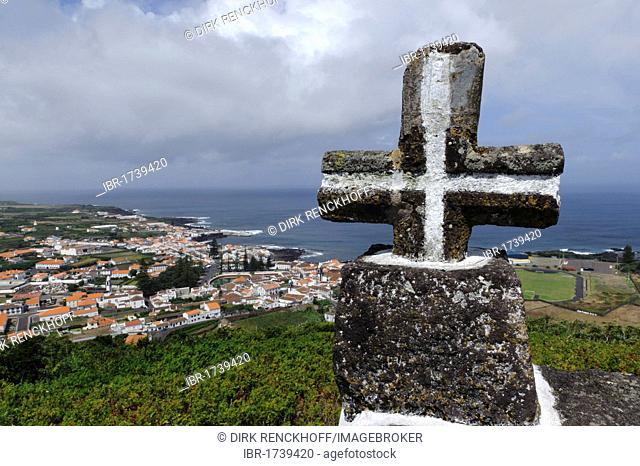 Cross on Monte da Ajuda mountain on the island of Graciosa, Azores, Portugal