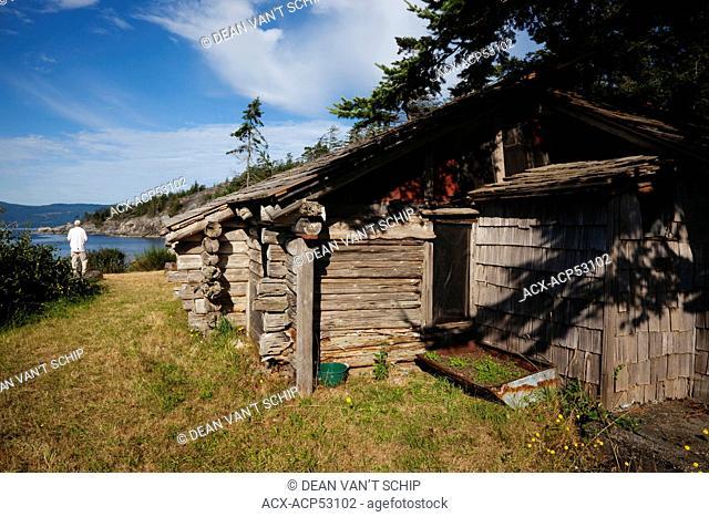 Harry Roberts Pioneer  Cabin, 'Sunray', Summer, Cape Cockburn, Nelson Island, Strait of Georgia, Sunshine Coast, B.C., Canada