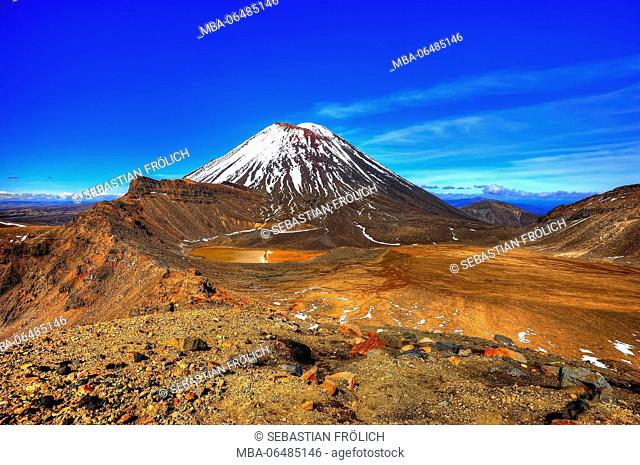 View about the Tongariro volcano plateau to the snowy Mt. Ngauruhoe
