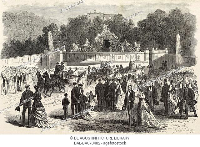 Prince Napoleon visiting Schonbrunn, Vienna, Austria, engraving by Janet Lange from L'Illustration, Journal Universel, No 1321, June 20, 1868
