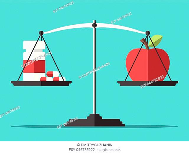 Medicine bottle with pills and apple on scales. Health, healthy eating, vitamin, lifestyle, addiction and drugs concept. EPS 8 vector illustration