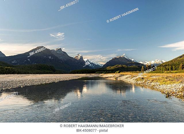 Dart River, behind mountains, Mount Aspiring National Park, Otago, Southland, New Zealand