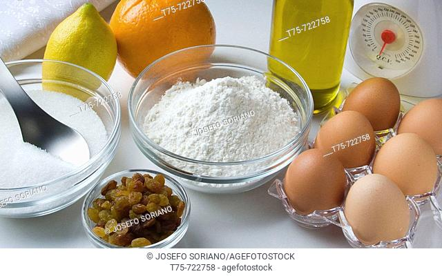 Ingredients to make pastries