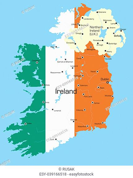 Abstract color map of Ireland country coloured by national flag