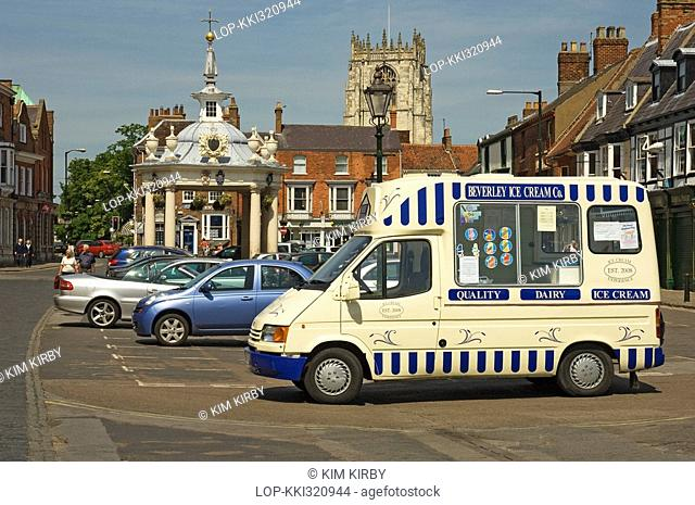 England, East Riding of Yorkshire, Beverley, An ice cream van parked by Market Cross in Saturday Market, Beverley