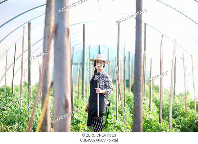 Young woman working in vegetable greenhouse