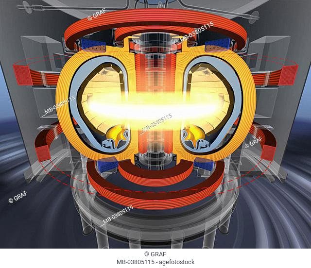 Illustration, nuclear merger reactor,   Merger reactor, ITER, amalgamation, nuclear amalgamation, plasma, energy, Tokamak, sun fires, magnetic field
