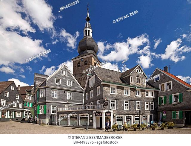 Historic centre with the Protestant City Church, Remscheid-Lennep, Bergisches Land, North Rhine-Westphalia, Germany