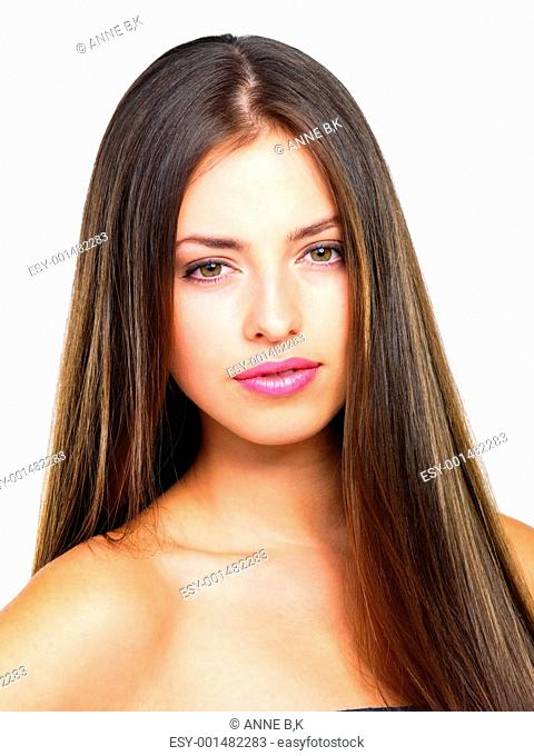 Closeup of pretty young female with beautiful straight hair isolated on white background