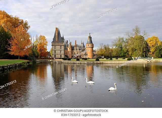 Chateau de Maintenon seen from the park, Eure-et-Loir department, Centre region, France, Europe