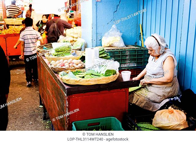 Mexico, Federal District, Mexico City. A vendor preparing cactus paddles at Mercado de la Merced in Mexico City