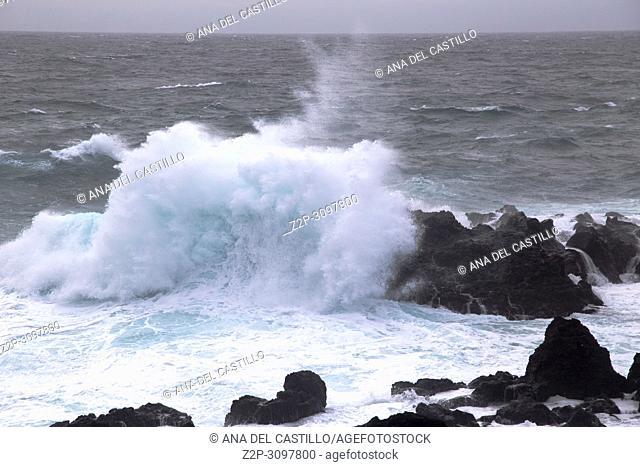 Storm over Termas de Ferraria in Sao Miguel island Azores Portugal