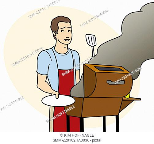 Worried man grilling with smoke coming out of the grill