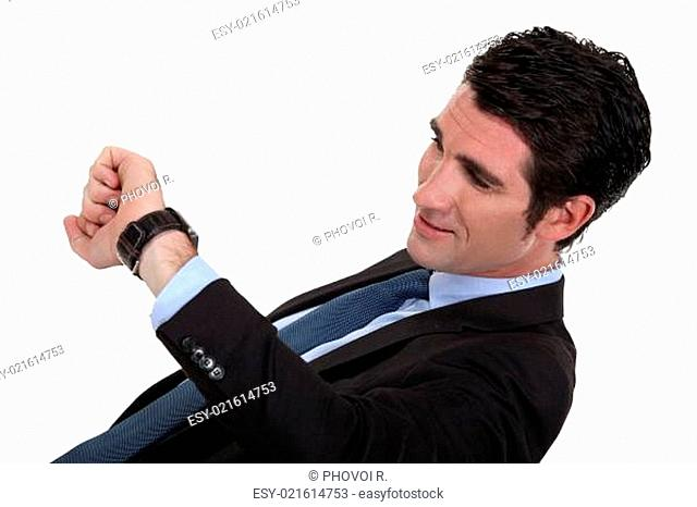 Man looking at the time