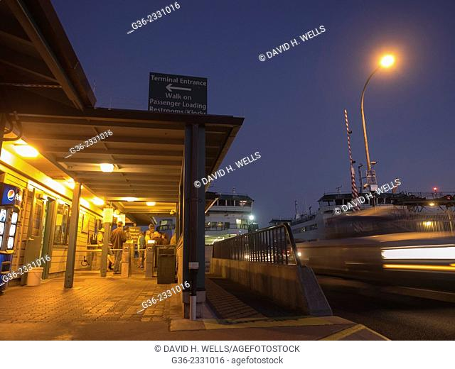 Passengers entering towards ferry terminal at Port Townsend, Washington, United States