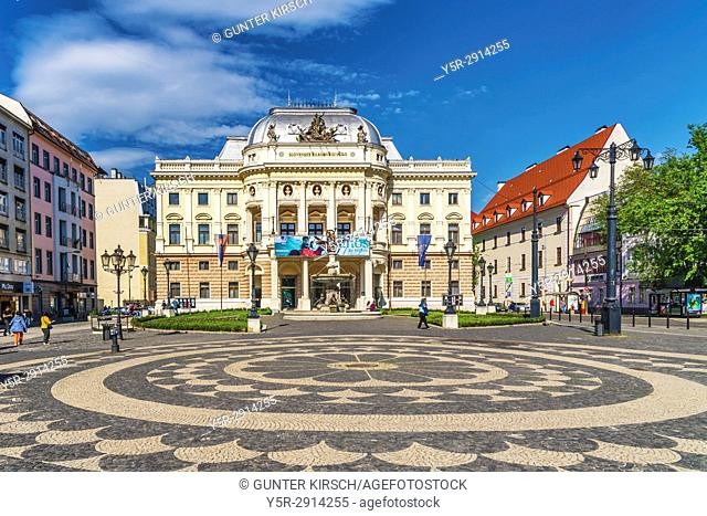 The building of the old National Theater was built 1886 in the style of the Neo-Renaissance. It is located in the old town of Bratislava, Slovakia, Europe