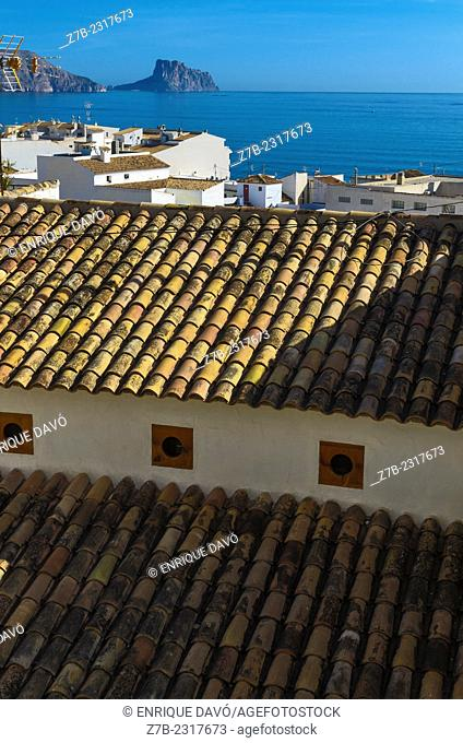 Vertical view of a yellow roofs in a zone of Altea old town, Alicante north, Spain