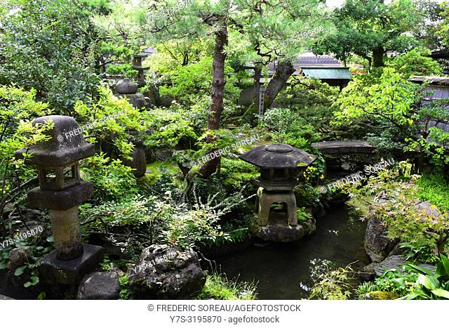 Nomura Samurai Family house garden in Nagamachi district of Kanazawa, Japan, Asia
