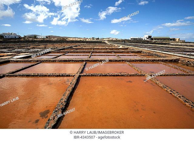 Salinas del Carmen salinse, rear right the salt museum Museo de la Sal, Las Salinas, Fuerteventura, Canary Islands, Spain