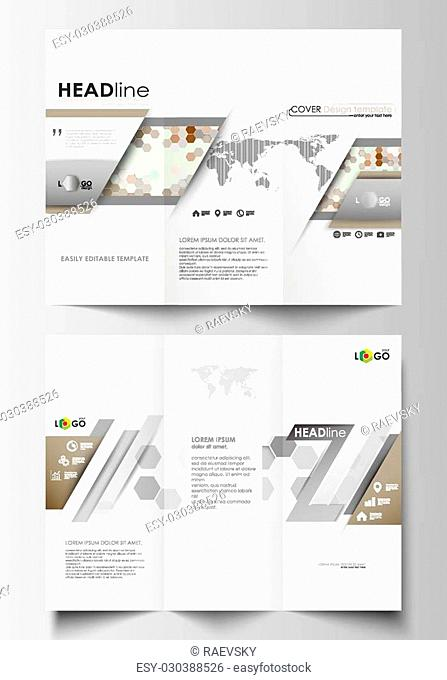 Tri-fold brochure business templates on both sides. Easy editable abstract layout in flat design. Abstract gray color business background