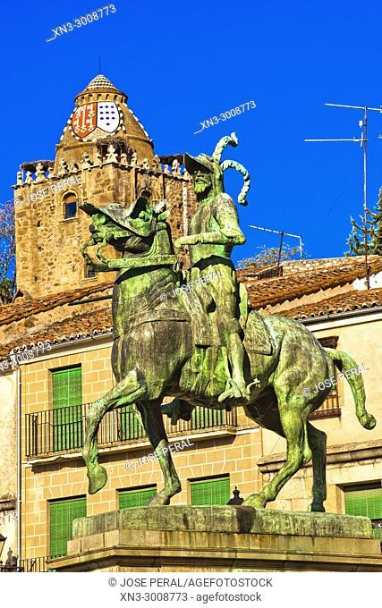 Equestrian statue of Francisco Pizarro, Alfiler Tower, Plaza Mayor, Main Square, Trujillo, Caceres Province, Extremadura, Spain, Europe