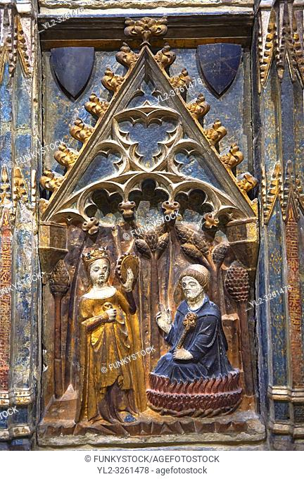 Gothic decorative relief panel depicting the Virgin Mary and Saint Antony. circa 1378-1390 from the church of Salvador of Gerb, Noguera