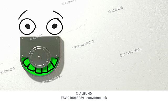 A restroom door mechanism defaced with a drawn face indicating green for vacant and showing relief on an isolated white textured background