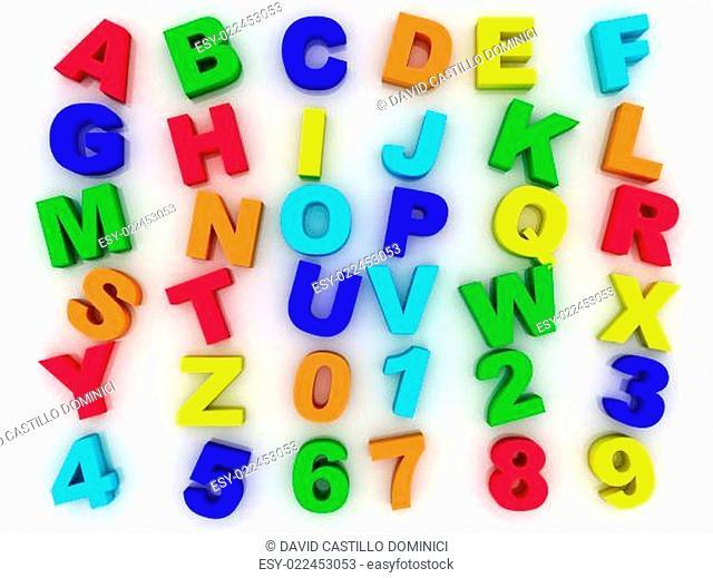 3d full alphabet with numerals
