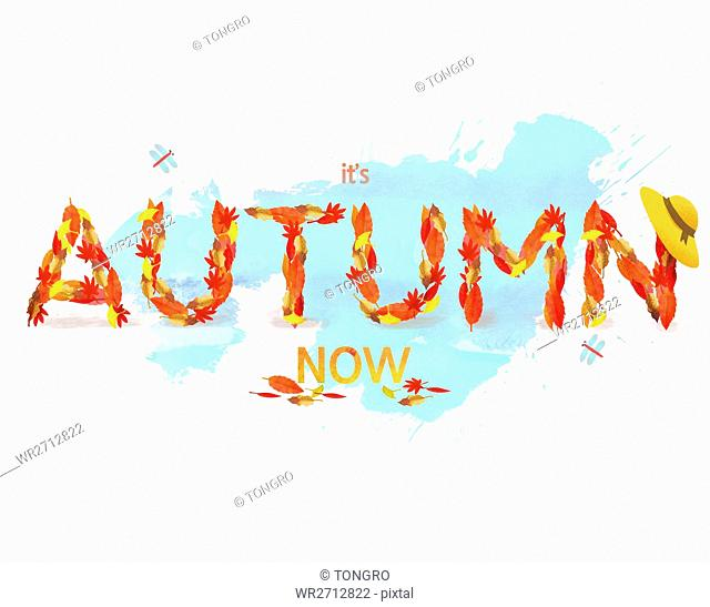Typographic English letters for AUTUMN
