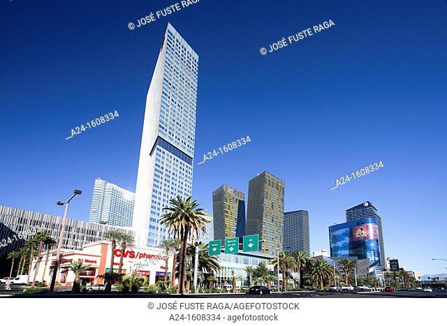 USA-Nevada-Las Vegas City-The Strip Avenue-The City Center Skyline