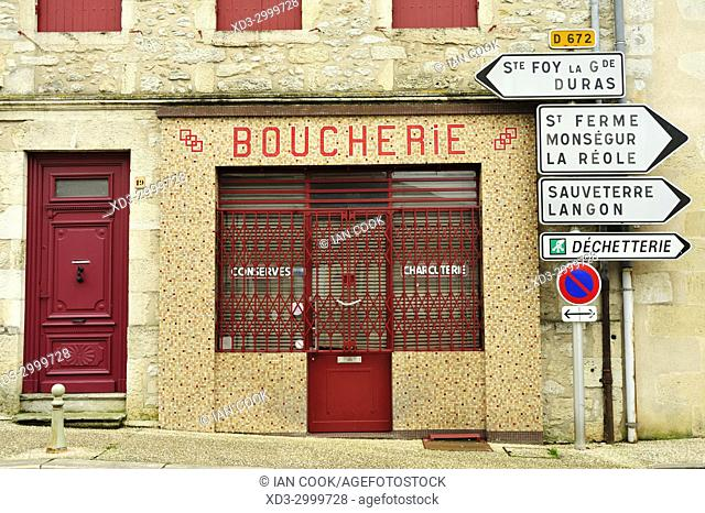 butcher shop and road signs, Pellegrue, Gironde Department, Aquitaine, France