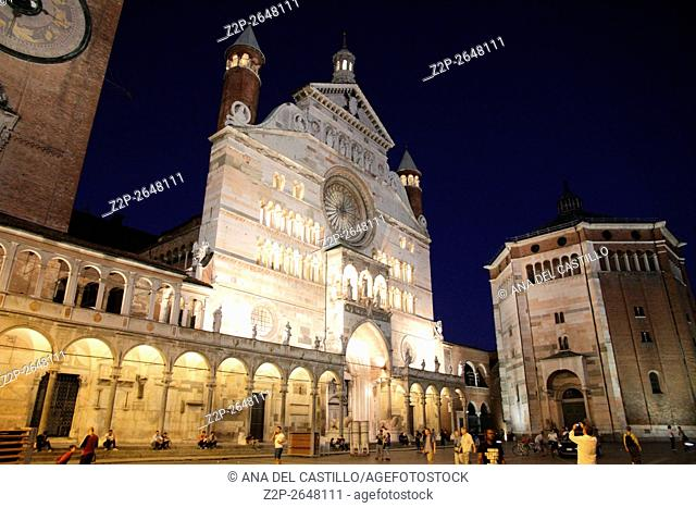 Piazza Duomo or cathedral square in Cremona Italy