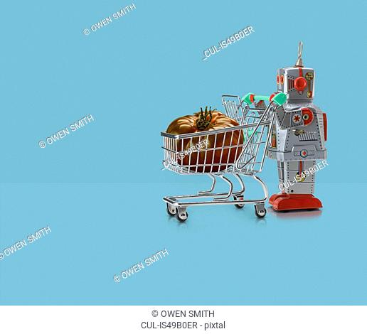Toy robot pushing miniature shopping trolley with tomato against blue background