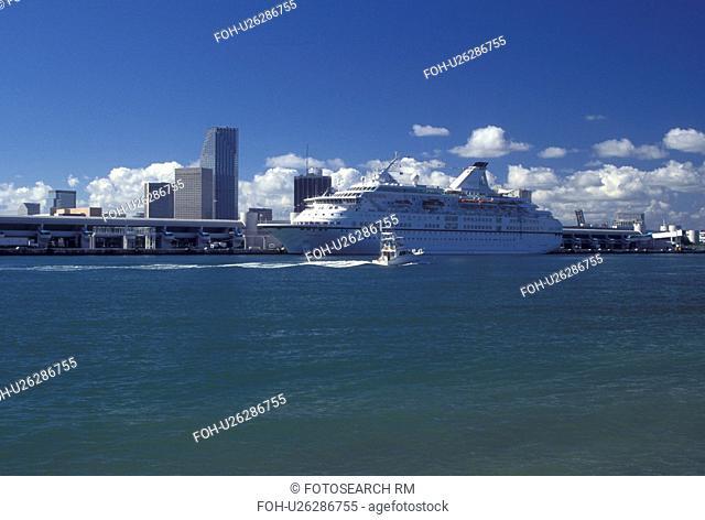 cruise ship, Miami, FL, Florida, Atlantic Ocean, Cruise ship docked at the Port of Miami Biscayne Bay in Miami
