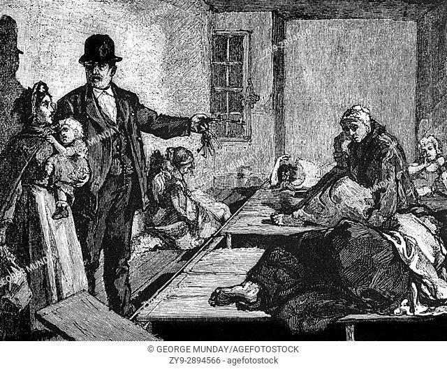 1879: Homeless people in a lodging room. At that time the police took responsibility for the homeless and opened rooms in some station houses for them to sleep