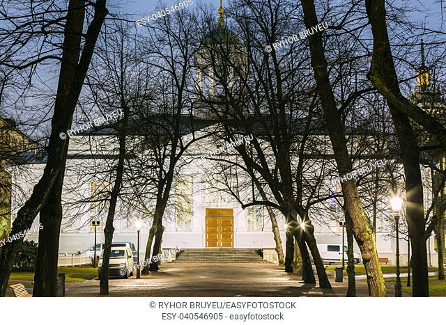 Helsinki, Finland. Evening View Of Evangelical Lutheran Helsinki Old Church Among Trees. The Oldest Existing Church In Central Helsinki