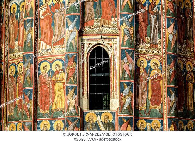 Frescoes of the painted monasteries of Moldovita, Bucovina, Romania, Europe