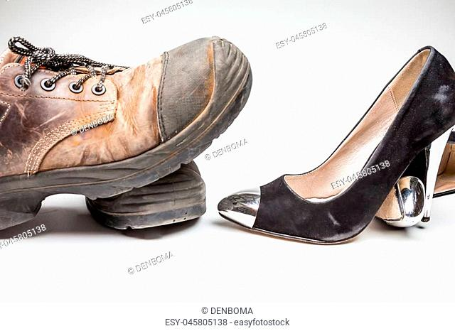 high heels ladies shoes and work shoes with steel tips
